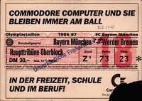 Ticket BL 86/87 FC Bayern München - SV Werder Bremen, Haupttribüne Oberblock