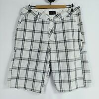 Hurley Mens Size 34 Check Shorts Cotton Knee Length White Grey Light Long Pocket