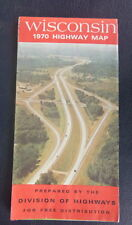 1970 Wisconsin official highway road  map  oil  gas