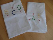 DDR Kinderbettwäsche weiß Linon 2 tlg. NEU Buchstaben Stickere Schulanfang
