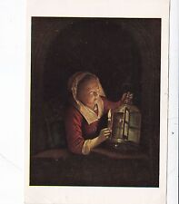 Gerard Dou Girl with a Lantern at the Window Postcard used VGC