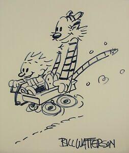 Calvin and Hobbes, Illustration, signed, drawing, art, sketch, Comics, Bill