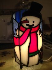 Lighted Tiffany Holiday Lamp Frosty The Snowman Genuine Stained Glass Brand New