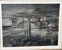 Sandra Finkenberg, pencil signed litho.,New York bridge 16 x 21