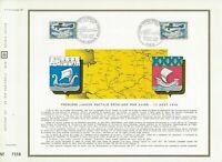 Foglio CEF 1er Giorno Francia 1ere Collegamento Cartolina Per Aereo 1968