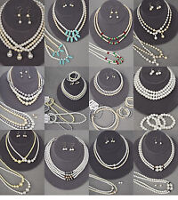 27PC (12 sets)WHOLESALE LOT FASHION JEWELRY,FAUX PEARL NECKLACE EARRING BRACELET