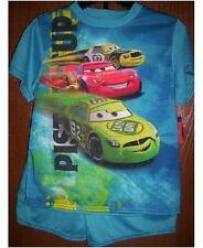 Disney CARS Pajamas Boys 8 NeW Blue/Green Shirt Shorts Pjs Set Lightning McQueen