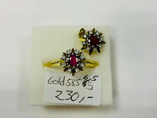 Pendant And Ring Gold 585, With Rubies And Stones, 6,4g