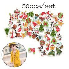 50Pcs Decor Santa Claus Deer Christmas 2 Holes Wooden Mixed Sewing Buttons