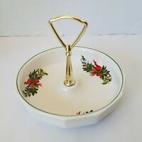 "Vintage Pfaltzgraff CHRISTMAS HERITAGE 7"" Handled Candy Dish Serving Tray USA"