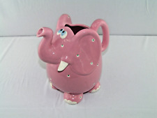 1985 FITZ & FLOYD FANTASY FAIR LARGE PINK POLKA DOT ELEPHANT PITCHER 9 CUP VGC