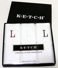 "3 Vintage Ketch Cotton Handkerchiefs - Monogrammed With Letter ""L"""