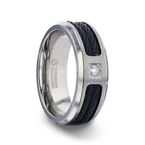 Sector Black Rope Cables Titanium Men's Wedding Ring With Diamond Centered - 8mm