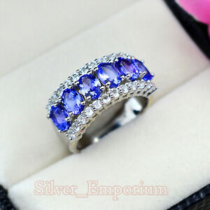 6X4 MM Oval Natural Tanzanite Gemstone 925 Solid Silver Engagement Ring For Her