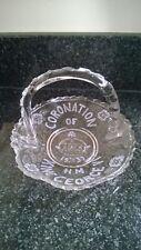 Coronation Of HM King George VI 1937 Glass Dish Basket Hand Made Bon Bon Dish