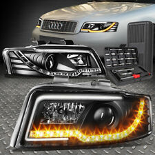 FOR 02-05 AUDI A4/S4 B6 QUATTRO LED DRL BLACK PROJECTOR HEADLIGHT LAMPS+TOOL SET
