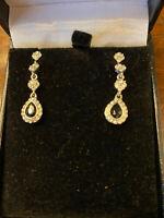 Vintage Monet Glitzy faux Diamond & Sapphire Drop Earrings