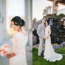 Modest 3/4 Sleeves Lace Sheath Wedding Dress Beach Bridal Gowns Size 2 4 6 8 10+