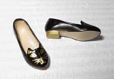 SHOES ~ MATTEL STANDARD BARBIE DOLL CHARLOTTE OLYMPIA BLACK GOLD KITTY CAT FLATS