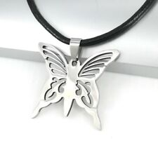 Silver Stainless Steel Butterfly Pendant Womens Black Leather Choker Necklace