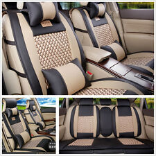 Universal 5-Seat All seasons Car Cooling Mesh+PU Leather Front+Rear Seat Covers