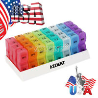 Monthly Pill Case Boxes Organizer 31 Days Medication Container Dispenser Azdent
