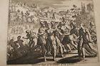 GRAVURE SUR CUIVRE FEMME LEVITE OUTRAGEE-BIBLE 1670 LEMAISTRE DE SACY (B71)