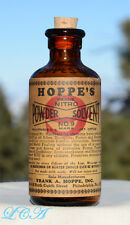 Nice FULLY LABELED antique HOPPE 9 Nitro Powder Solvent GUN OIL bottle CORK TOP