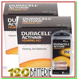 120 DURACELL 312 PR41 Batterie ACTIVAIR Protesi Pile per Apparecchi Acustici