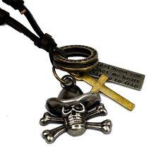 Herren Lederkette SKULL Pirat Kreuz Lederband Kette Leder Surferkette Halskette