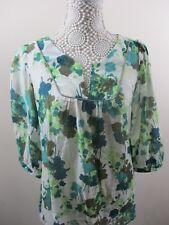 H&M blouse size 10.Euro size 38. Cotton/silk mix. Green foliage Pattern. V.Light