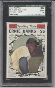 1961 Topps baseball card #575 Ernie Banks Chicago Cubs graded SGC 96 MINT 9