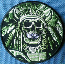 INDIAN CHIEF SKULL EMBROIDERED 3.5 INCH IRON ON  PATCH