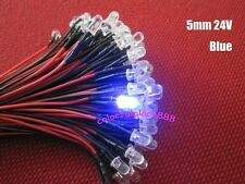 5mm Red Yellow Blue Green White Warm White Orange 24V DC Pre-Wired LED Leds 20CM