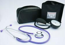 Black Aneroid Blood Pressure Monitor - Sphygmomanometer & Purple Stethoscope