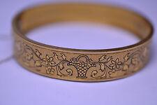 """Basket .5"""" Hinged Bangle Bracelet Antique Victorian Gold Filled Taille D'Epargne"""