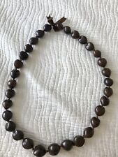 Kukui Nut Necklace Lei, Brown.  Free Shipping