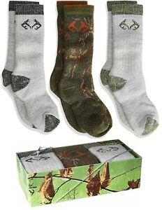 Realtree Boys Youth Warm Ultra-Dri Merino Wool Blend Boot Socks Gift Box 3 Pair