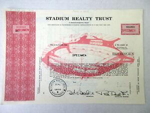 MA. Stadium Realty Trust 1977 Specimen Stock Cert. Was Home to Patriots Football