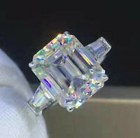 Solid 14k white Gold 3.27ct Emerald cut Solitaire Diamond Engagement Ring Band