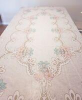 Vintage White Lace Tablecloth Pink Blue Flowers Large Rectangular Boho Excellent