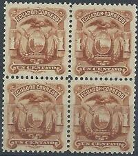 Ecuador 1881 Sc# 12 Arms Eagle block 4 MNH