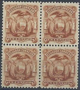 Ecuador 1881 Sc# 12 Arms Eagle block 4 MNH