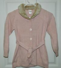 GYMBOREE girls LA BELLE EPOQUE Pink Fur Collar CARDIGAN SWEATER* 7