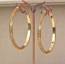"""18K Gold Filled 2.8"""" Earring Spring Ring Hollow Dangle Circle Hoop Bohemia DS"""