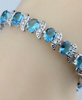 Natural Blue Opal White Topaz Overlay 925 Sterling Silver Gemstone Bracelet