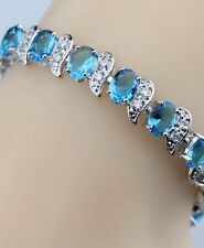Natural Blue Opal White Topaz Overlay 925 Sterling Silver Gemstone Bracelet