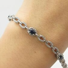925 Sterling Silver Real Diamond Sapphire Gemstone Link Bracelet 6.5""