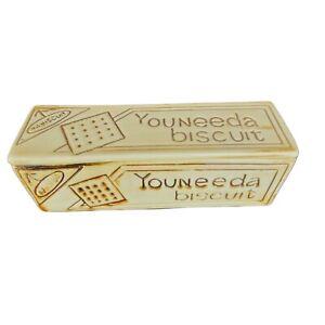 VINTAGE NABISCO NABISCUIT YOUNEEDA BISCUIT CERAMIC CRACKER BOX VHTF