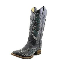 Corral Women's Crystal Cross Accent Leather Boot Black, Turquoise A1142